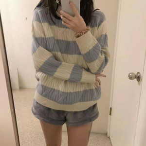 Mango white and blue striped knit sweater top